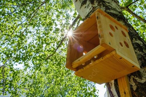 House birdhouse tree forest bird. trunk. Fototapet