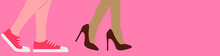 Vector Of Female Feet In Different Shoes. Flat Image Of Female Feet In High Heel Shoes And Female Feet In Sneakers