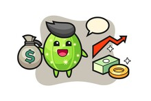 Cactus Illustration Cartoon Holding Money Sack