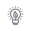 Eco energy line icon. Light bulb with leaf vector outline sign.