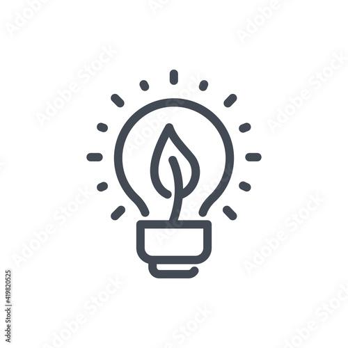 Slika na platnu Eco energy line icon. Light bulb with leaf vector outline sign.
