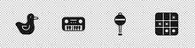 Set Rubber Duck, Toy Piano, Rattle Baby Toy And Tic Tac Toe Game Icon. Vector.