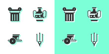 Set Neptune Trident, Ancient Column, Chariot And Broken Amphorae Icon. Vector.
