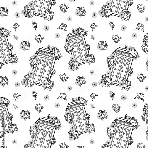 Pattern with British Police Boxes/ vector tardis. Doctor who Fototapeta