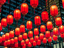 Traditional Red Lanterns Decorating The Streets At Night During The Chinese Lunar New Year