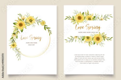 Fotografie, Obraz beautiful sunflower invitation card set