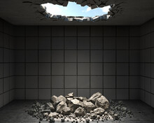Room With A Hole In The Ceiling And The Fallen Pieces And Rocks On The Floor, 3d Illustration