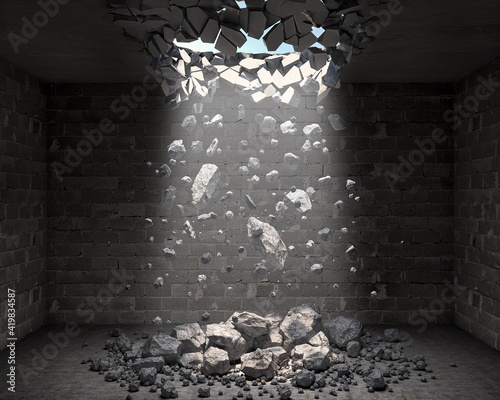 Photo Dark room with a hole in the ceiling and falling rocks, 3d illustration