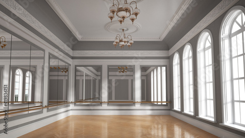 Canvas Large empty hall with wooden floors, large windows and mirrors