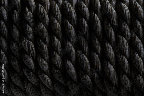Obraz Close-up of vertically coiled rope textured background - fototapety do salonu