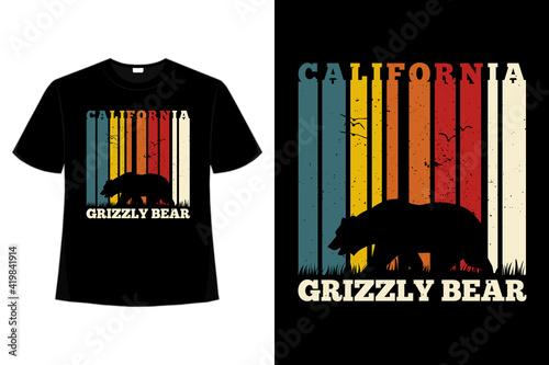 Fotografia, Obraz T-shirt california bear retro style vintage