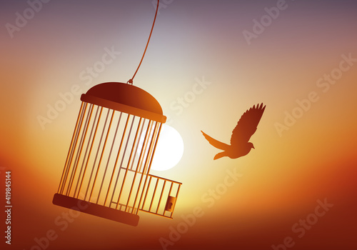 Fotografija Concept de la liberté, avec un oiseau qui s'évade de sa cage et qui s'envole devant un coucher du soleil