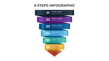 6 Points Of Steps, Infographic Template, Layout Design Vector With Arrow Diagram