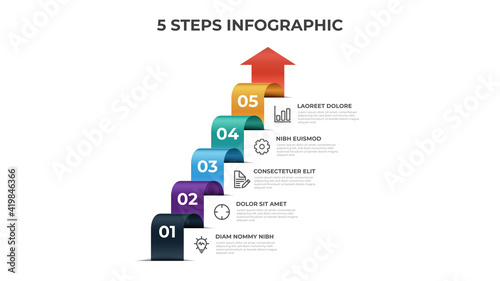 Fotografiet 5 stairs of steps, infographic element template, layout design vector with list