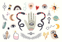 Mystical Boho Elements Collection, Esoteric Signs And Symbols, Modern Design