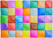 Abstract Colorful Hand Drawn Background Of Watercolor Squares.