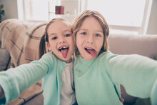 Photo Portrait Of Cheerful Brother And Sister Hugging Together Showing Tongue Fooling Taking Selfie