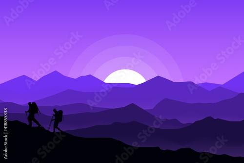 Canvas flat landscape beautiful mountain climbers at night