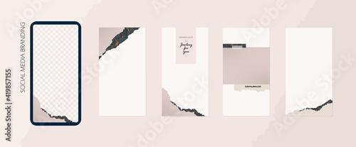 backgrounds for social media Instagram feed banner. set of advertising stories and post frame templates. vector cover. mock up for beauty, spa, make up, stylist, restaurant feminine blog
