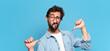 Leinwandbild Motiv young crazy bearded man proud expression