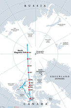 Polar Drift, Movement Of The Magnetic North Pole, Gray Political Map. North Magnetic Pole Of Earth, Observed Since 1831, Drifting Across The Canadian Arctic, Over Arctic Ocean, Towards Siberia. Vector