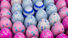 Multicolored, Easter Egg Background. Beautiful Pink, White And Blue Eggs With Floral And Striped Patterns. 3D Render