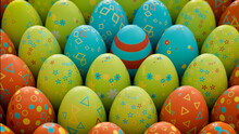 Multicolored, Easter Egg Background. Beautiful Green, Orange And Turquoise Eggs With Floral And Diamond Patterns. 3D Render