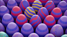Multicolored, Easter Egg Background. Beautiful Purple, Red And Yellow Eggs With Striped And Diamond Patterns. 3D Render