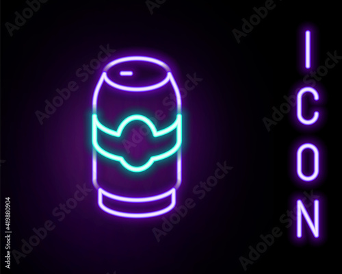 Glowing neon line Beer can icon isolated on black background Fototapeta