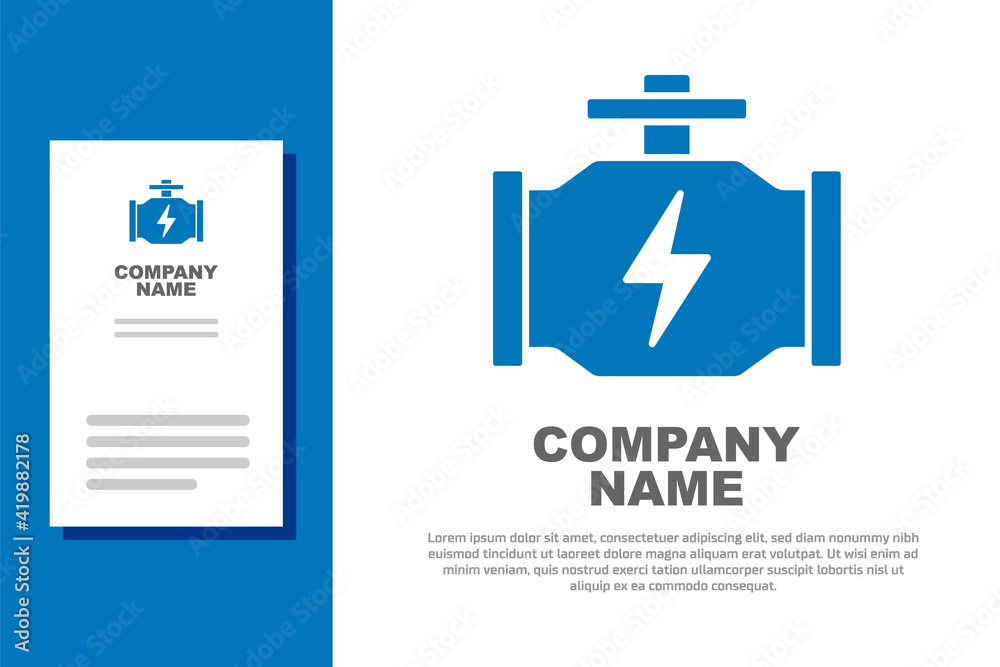 Fototapeta Blue Check engine icon isolated on white background. Logo design template element. Vector