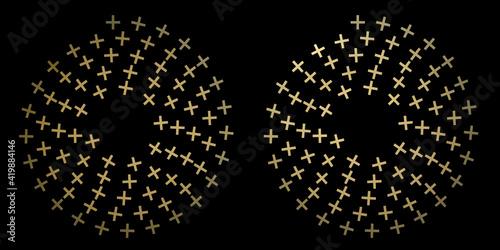 Canvastavla cruces doradas formando círculos sobre fondo negro