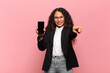 young pretty hispanic woman business and smartphone concept