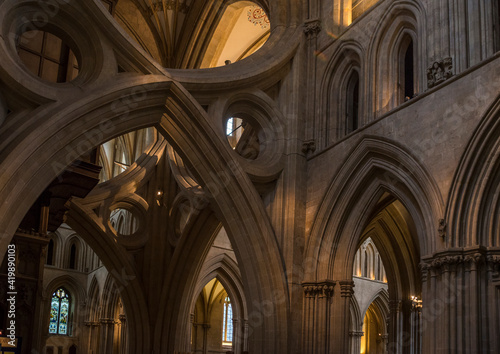 Detail of the many arches in the Wells Cathedral in Wells, Somerset, England