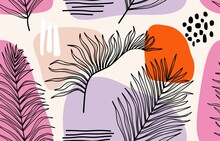 Tropical Palm Leaves Hand Drawn Seamless Pattern. Botanical Trendy Design In Pink And Green Colors. Vector Repeating Design For Fabric, Wallpaper Or Wrap Papers.