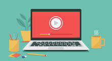 Video Player Icon On Laptop Computer, Concept Of Webinar, Business Online Training, Education Or E-learning And Video Tutorial, Vector Flat Illustration