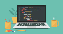 Computer Software With Programming Coding Text On Window Laptop Screen, Vector Flat Illustration