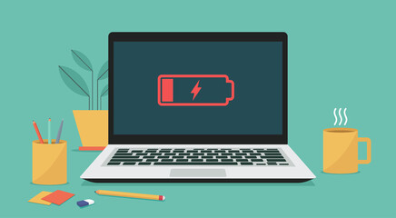 Laptop computer with low battery icon on screen, vector flat illustration