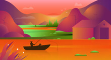 Asian Background Of Landscape With River, Rice Fields And Mountains. Asian Conical Rice Hat Fisherman At Sunset Or Sunrise. Gradient Vector Illustration Of Fisherman On The Lake In Asia.