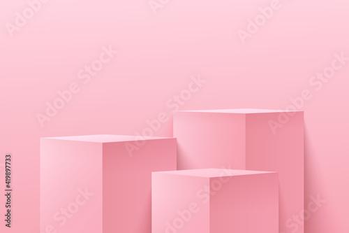 Fotografija Modern light pink cube step pedestal pedestal podium with empty room background