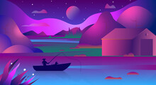 Asian Background Of Landscape With Night Lake, Rice Fields And Moon. Asian Conical Rice Hat Fisherman And Dog In The Boat On The Lake. Gradient Illustration Of Lonely Boat With A Fisherman And Dog.