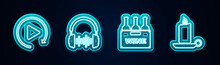 Set Line Video Play Button, Headphone And Sound Waves, Bottles Of Wine In Box And Burning Candle Candlestick. Glowing Neon Icon. Vector
