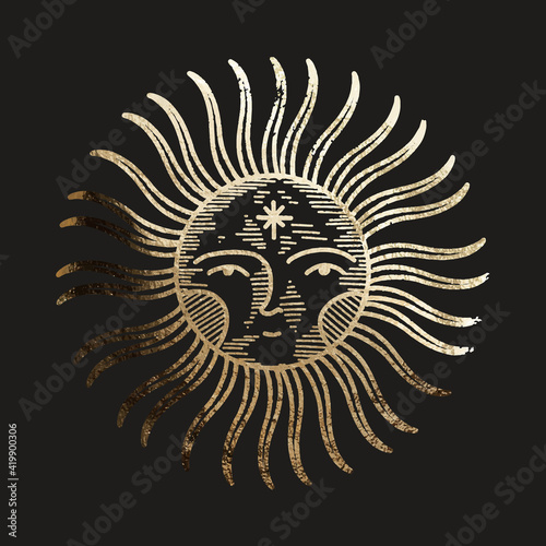 Fototapeta chic golden luxurious retro vintage engraving style. image of the sun and moon phases. culture of accultism. Vector graphics obraz