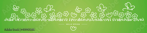Obraz Hello Spring background, banner, pattern handwritten design with bees, butterflies and colorful spring flowers in grass green isolated - fototapety do salonu