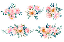 Soft Pink Floral Bouquet Collection With Watercolor