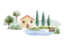 Vintage Brick House With Red Tiled Roof In Landscape. Watercolor Illustration Old Village Cottage. Retro Cozy Brick House In Cypress Trees. Hand Drawn Village Apartment With Small Pond.