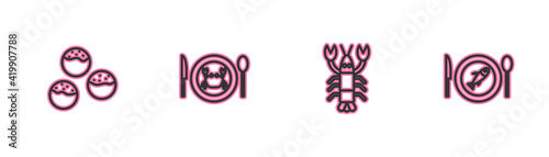 Fototapeta Set line Takoyaki, Lobster, Served crab on plate and fish icon. Vector obraz