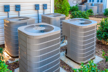 New Air Conditioners Outside Upscale Apartment Complex