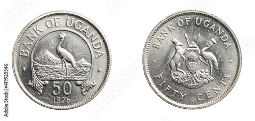 Canvas Uganda fifty cents coin on a white isolated background