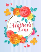 Happy Mothers Day. Spring Papercut Flowers And Butterflies. Greeting Card For Motherhood Celebration With Paper Floral Bouquet Vector Banner
