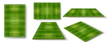 Football Field. Soccer Pitch Scheme Top, Side And Perspective View. Realistic European Football Court Or Stadium With Green Grass Vector Set